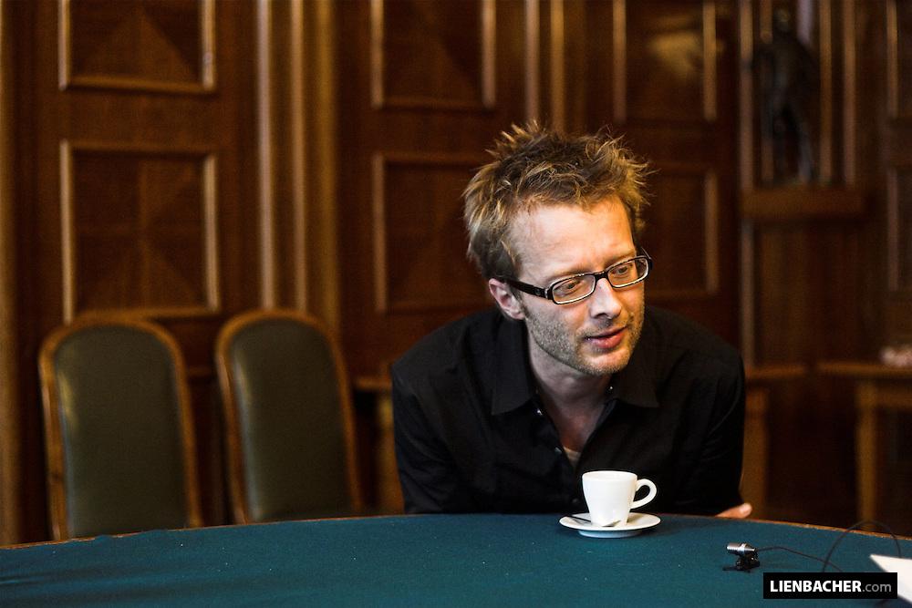 Shot of composer Johannes Maria Staud during an interview in the Mozarteum Salzburg