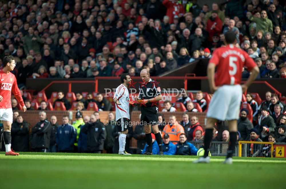 MANCHESTER, ENGLAND - Sunday, March 23, 2008: Liverpool's Javier Mascherano cannot believe referee Steve Bennett's decision to show him a second yellow card during the Premiership match against Manchester United at Old Trafford. (Photo by David Rawcliffe/Propaganda)