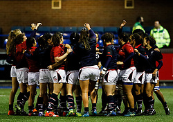 Hong Kong players huddle during the pre match warm up<br /> <br /> Photographer Simon King/Replay Images<br /> <br /> Friendly - Wales Women v Hong Kong Women - Friday  16th November 2018 - Cardiff Arms Park - Cardiff<br /> <br /> World Copyright © Replay Images . All rights reserved. info@replayimages.co.uk - http://replayimages.co.uk