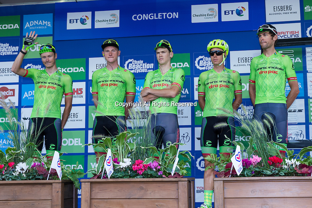 06.09.2016. Congleton Cheshire, England. Tour of Britain, Stage 3, Congleton to Knutsford.  Cannondale Drapac Pro Cycling riders at the start.