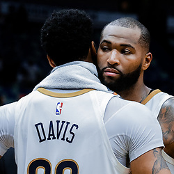 Jan 20, 2018; New Orleans, LA, USA; New Orleans Pelicans forward Anthony Davis (23) and center DeMarcus Cousins (0) following a win against the Memphis Grizzlies at the Smoothie King Center. The Pelicans defeated the Grizzlies 111-104. Mandatory Credit: Derick E. Hingle-USA TODAY Sports