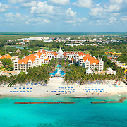 Aerial view of Riu hotel Playacar in Playa del Carmen. Quintana Roo, Mexico.