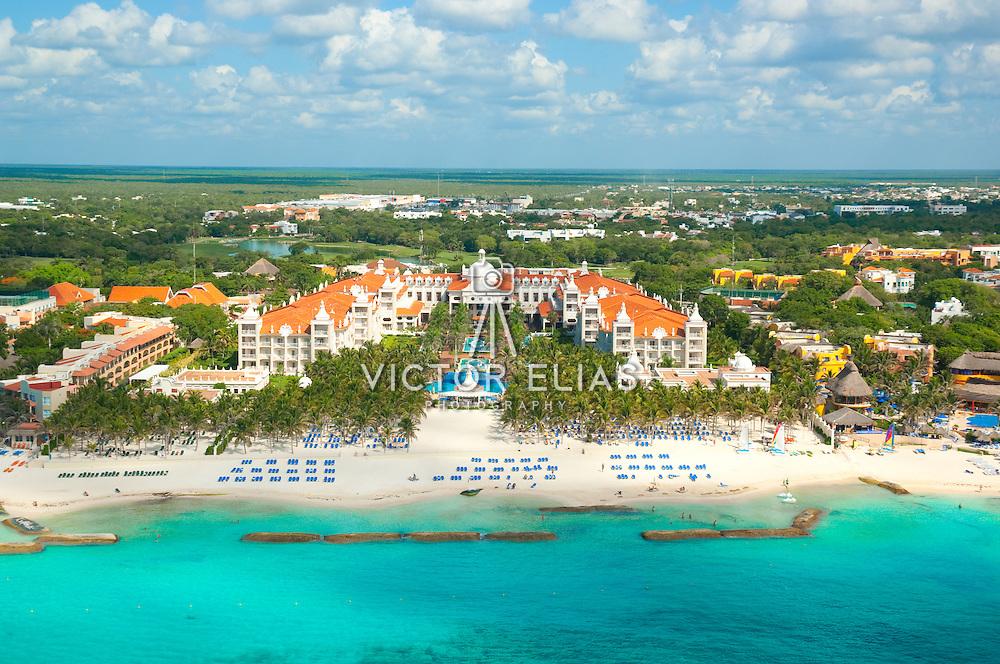 Aerial view of Riu hotel Playacar in Playa del Carmen. Quintana Roo, Mexico.
