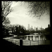 Photo By Michael R. Schmidt.Iphone 4s Hipstamatic photo of the Chicago skyline looking south from Lincoln Park zoo. 2012.