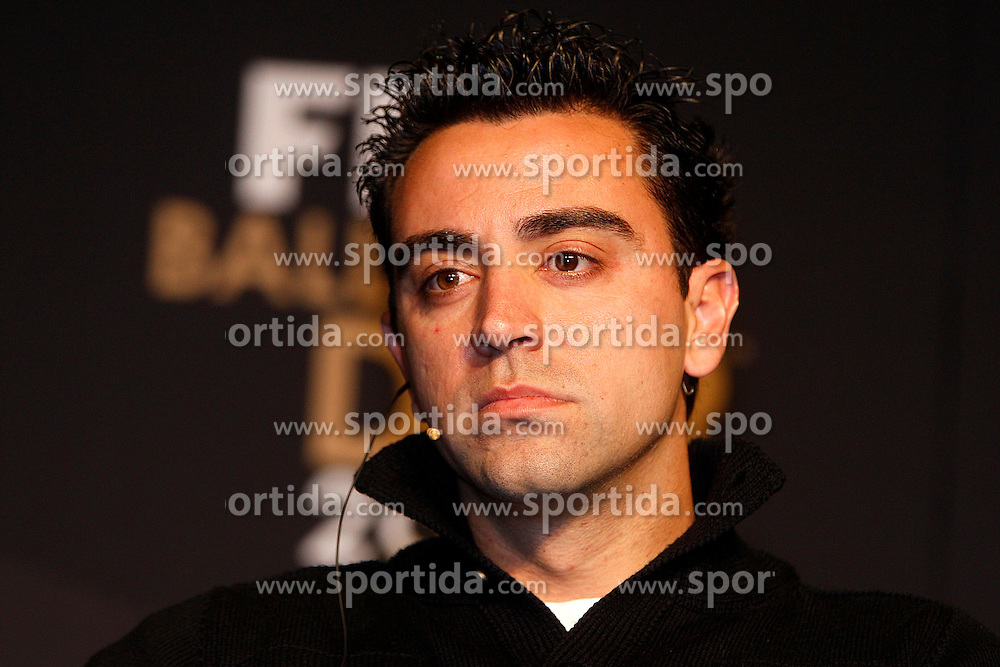 09.01.2011, Kongresshaus, Zürich, SUI, FIFA Ballon D'Or 2011, im Bild Xavi Barcellona // during Press conferenc of FIFA Ballon D'Or 2011 at Kongresshaus Zuerich, Switzerland on 2012/01/09. EXPA Pictures © 2012, PhotoCredit: EXPA/ Insidefoto/ Paolo Nucci..***** ATTENTION - for AUT, SLO, CRO, SRB, SUI and SWE only *****