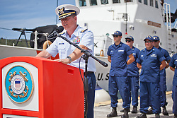 Capt. Robert Warren, Sector San Juan commander gives his remarks.  Coast Guard Boat Forces in the US Virgin Islands unveil two of the four 33-Special Purpose Craft Law-Enforcement (SPC-LEs) Boats that will be stationed in St. Thomas.   The SPC-LE's are specially built for counter-drug and migrant missions while patroling the border.  © Aisha-Zakiya Boyd