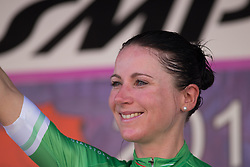 Annemiek van Vleuten (NED) of Orica Scott Cycling Team celebrates retaining the best climber's green jersey after Stage 8 of the Giro Rosa - a 141.8 km road race, between Baronissi and Centola fraz. Palinuro on July 7, 2017, in Salerno, Italy. (Photo by Balint Hamvas/Velofocus.com)