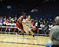 """Ole Miss' Maggie McFerrin (14) vs. Arkansas at the C.M. """"Tad"""" Smith Coliseum in Oxford, Miss. on Thursday, January 12, 2012."""