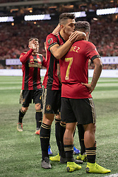 December 8, 2018 - Atlanta, Georgia, United States - Atlanta United defender FRANCO ESCOBAR (2) celebrates a goal with Atlanta United forward JOSEF MARTINEZ (7) during the MLS Cup at Mercedes-Benz Stadium in Atlanta, Georgia.  Atlanta United defeats Portland Timbers 2-0 (Credit Image: © Mark Smith/ZUMA Wire)