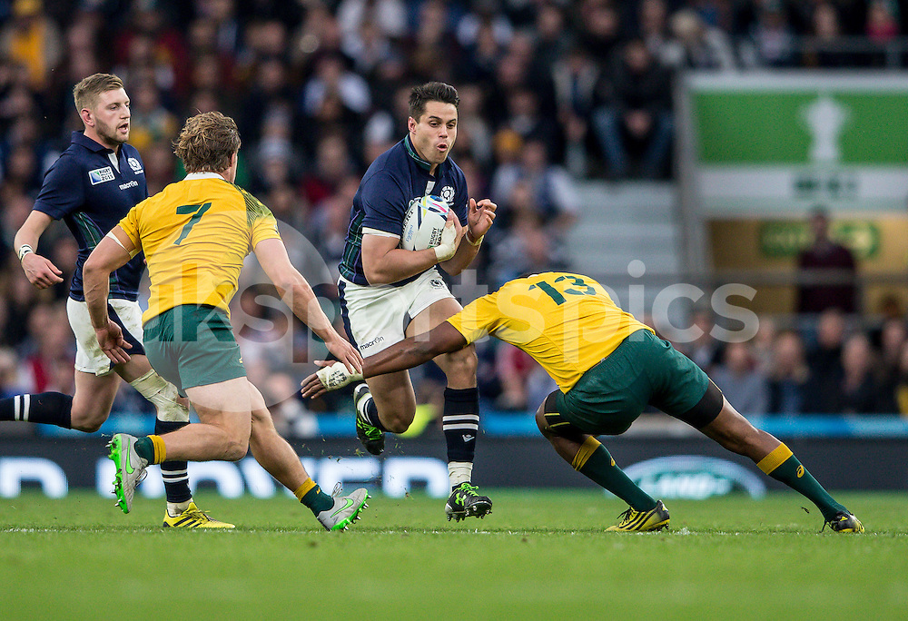 Sean Maitland of Scotland during the Rugby World Cup Quarter Final match between Australia and Scotland played at Twickenham Stadium, London on the 18th of October 2015. Photo by Liam McAvoy.