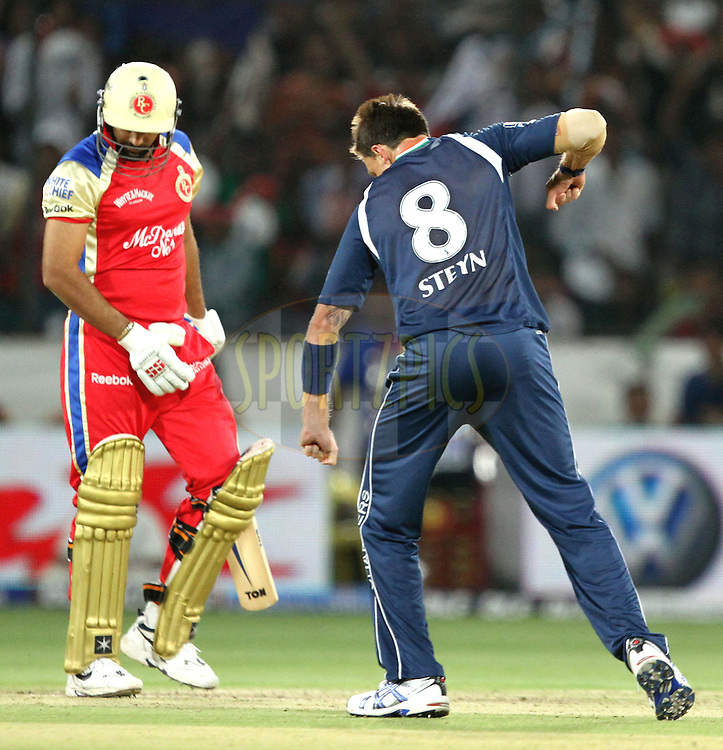 Dale Styne (R) celebrates wicket of Zaheer Khan (L) during match 11 of the Indian Premier League ( IPL ) between the Deccan Chargers and the Royal Challengers Bangalore held at the Rajiv Gandhi International Cricket Stadium in Hyderabad on the 14th April 2011..Photo by Prashant Bhoot/BCCI/SPORTZPICS.
