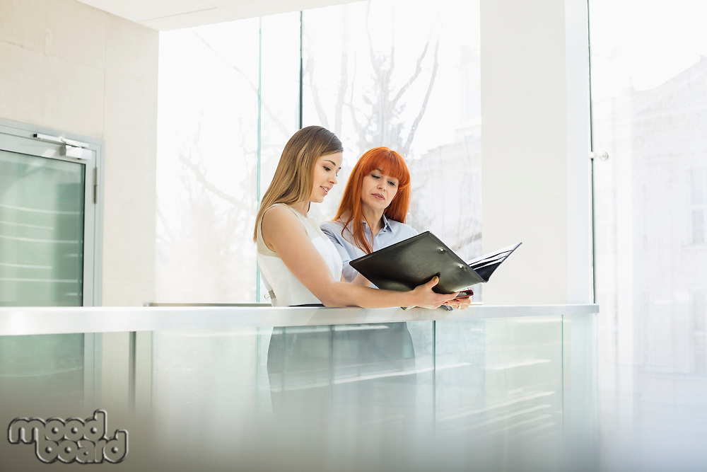 Businesswomen discussing over file folder in office