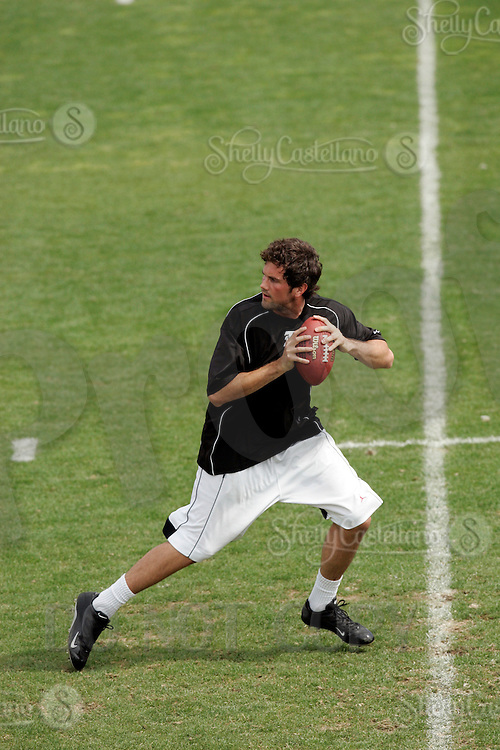 2 April 2006:  Quarterback Matt Leinart gets ready to throw the ball at pro-day timing workout by pro football teams at NFL pro-timing day at USC college campus in Los Angeles, CA.  Former USC senior is expected to go in the top 5 of the upcoming draft.