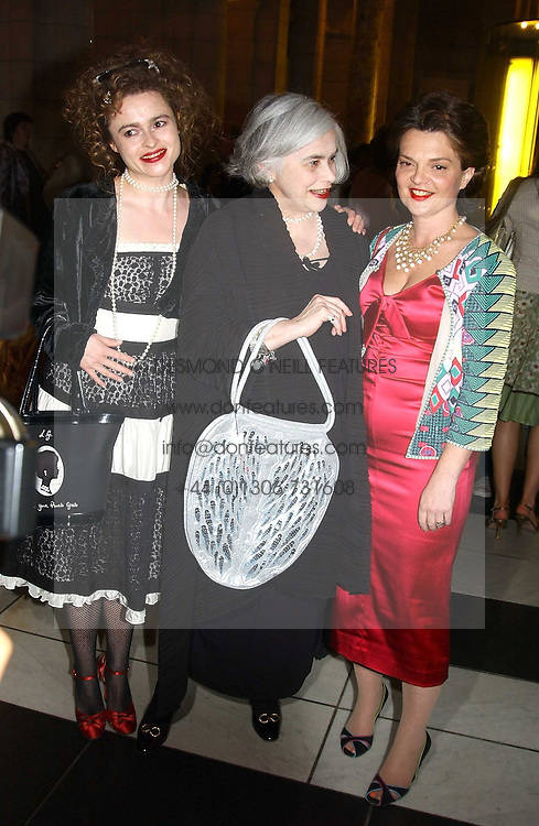 Left to right, actress HELENA BONHAM-CARTER, her mother MRS ELENA BONHAM-CARTER and LULU GUINNESS at a party to celebrate the publication of  'Put On Your Pearl Girls!' by Lulu Guinness held at the V&A museum, London on 5th May 2005.<br />
