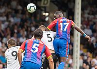Football - 2018 / 2019 Premier League - Fulham vs. Crystal Palace<br /> <br /> Christian Benteke (Crystal Palace) heads highest at Craven Cottage<br /> <br /> COLORSPORT/DANIEL BEARHAM