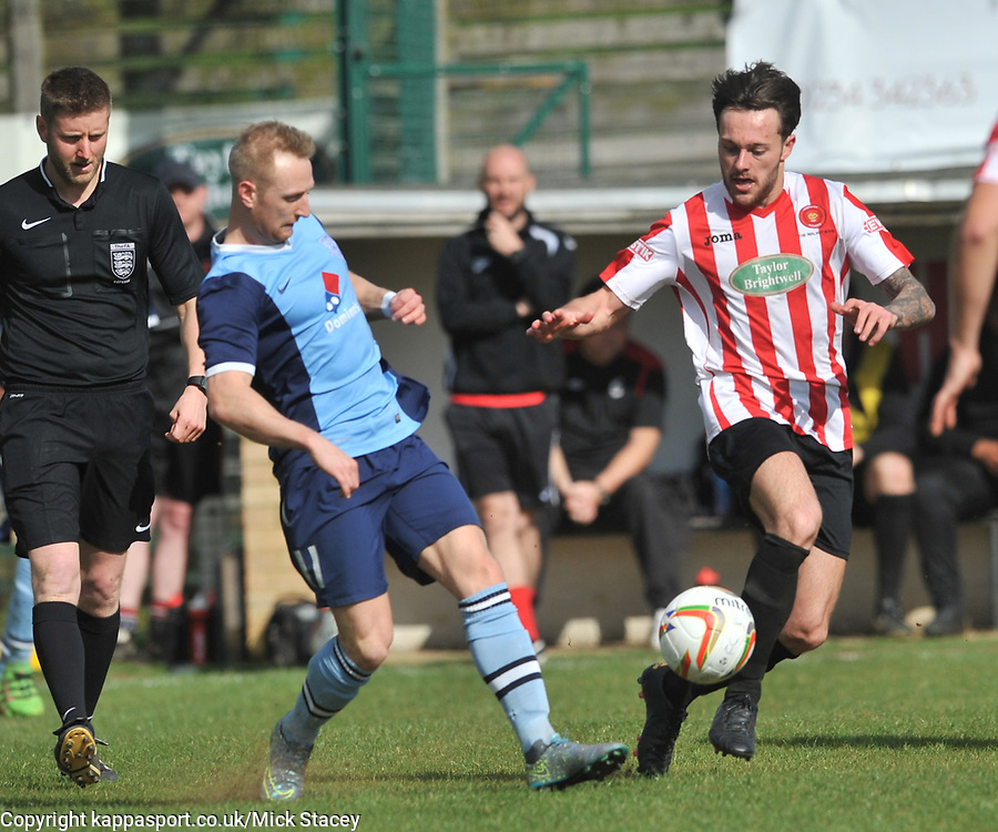 SAM JOHNSON KEMPSTON ROVERS HOLDS OF FLEET ROB CARR,   Kempston Rovers v Fleet Town, Evostick Southern League Central Saturday 15th April 2017. Score 3-1. Photo:Mike Capps