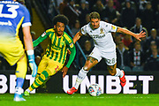 West Bromwich Albion forward Matheus Pereira (12) and Leeds United defender Gaetano Berardi (28) during the EFL Sky Bet Championship match between Leeds United and West Bromwich Albion at Elland Road, Leeds, England on 1 October 2019.