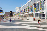 Convention Center, Children, Boys, riding Scooters, Long Beach, CA,