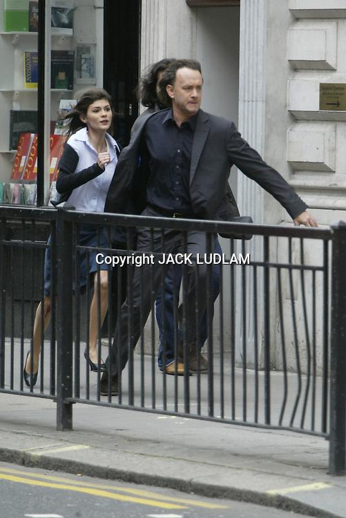 Tom Hanks and Audrey Tautou shooting The Da Vinci Code in Fleet street London