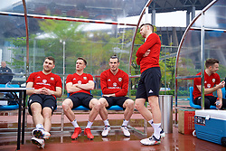 NANNING, CHINA - Saturday, March 24, 2018: Wales' Sam Vokes, Andy King, Gareth Bale' and Chris Gunter during a training session at the Guangxi Sports Centre ahead of the 2018 Gree China Cup International Football Championship final match against Uruguay. (Pic by David Rawcliffe/Propaganda)