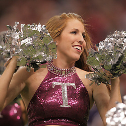 21 December 2008:  A Troy cheerleader on the sideline during 30-27 overtime victory by the Southern Mississippi Golden Eagles over the Troy Trojans in the  R+L Carriers New Orleans Bowl at the New Orleans Superdome in New Orleans, LA.