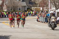 2014 Boston Marathon: lead pack of elite women race passes mile 19 in the Newton Hills, Shalane Flanagan