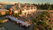 Drone Aerial view over Anne Amie winemaker Crab Dinner, Yamhill-Carlston, Willamette Valley, Oregon