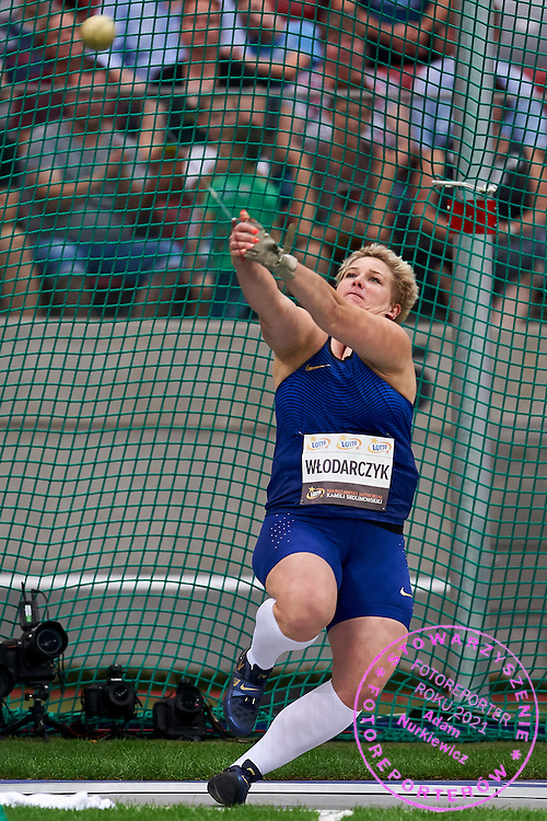 Warsaw, Poland - 2016 August 28: Anita Wlodarczyk from Poland competes in women's hammer throw competition during athletics meeting Kamila Skolimowska Memorial 2016 at PGE National Stadium  August 28, 2016 w Warsaw, Poland.<br /> <br /> Adam Nurkiewicz declares that he has no rights to the image of people at the photographs of his authorship.<br /> <br /> Picture also available in RAW (NEF) or TIFF format on special request.<br /> <br /> Any editorial, commercial or promotional use requires written permission from the author of image.<br /> <br /> Mandatory credit:<br /> Photo by &copy; Adam Nurkiewicz