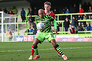 Forest Green Rovers Robert Hall(15), on loan from Oxford United holds the ball up during the EFL Sky Bet League 2 match between Forest Green Rovers and Walsall at the New Lawn, Forest Green, United Kingdom on 8 February 2020.