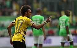 Football: Germany, 1. Bundesliga, VfL Wolfsburg - Borussia Dortmund (BVB), Wolfsburg - 16.05.2015,<br /> Pierre-Emerick Aubameyang (Dortmund) celebrates scoring to 1:1 from penalty<br /> <br /> &copy; pixathlon<br /> <br /> +++ NED out !!! +++