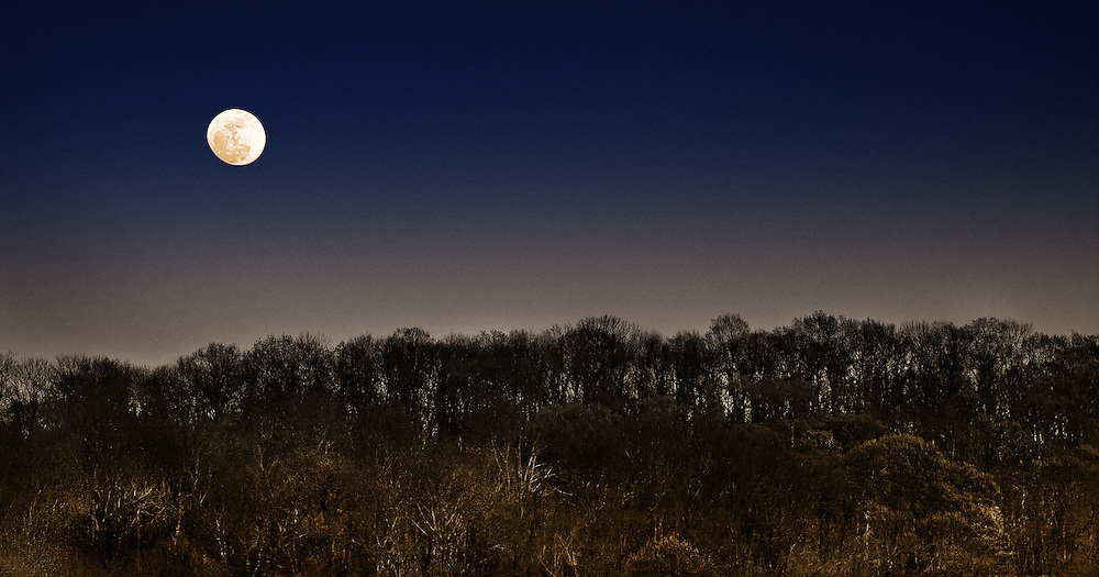 A waxing gibbous moon over the hills of Lambertville, New Jersey.