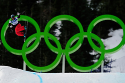 Olympic Winter Games Vancouver 2010 - Olympische Winter Spiele Vancouver 2010, Snowboard (Ladies' Snowboard Cross), David Speiser of Germany soars above the Olympic rings during a men's snowboard cross qualifying run at Cypress Mountain in Vancouver BC, Canada during the 2010 Winter Olympics Monday February 15, 2010..Photo by newsport / HOCH ZWEI / SPORTIDA.com.... *** Local Caption *** +++ www.hoch-zwei.net +++ copyright: HOCH ZWEI / newsport +++