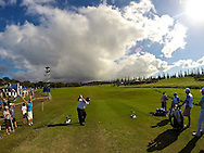 January 09 2015:  Patrick Reed tees off on the drivable number fourteen during the First Round of the Hyundai Tournament of Champions at Kapalua Plantation Course on Maui, HI.
