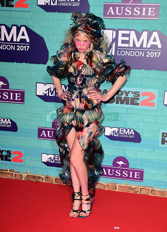 Petite Meller attending the MTV Europe Music Awards 2017 held at The SSE Arena, London.
