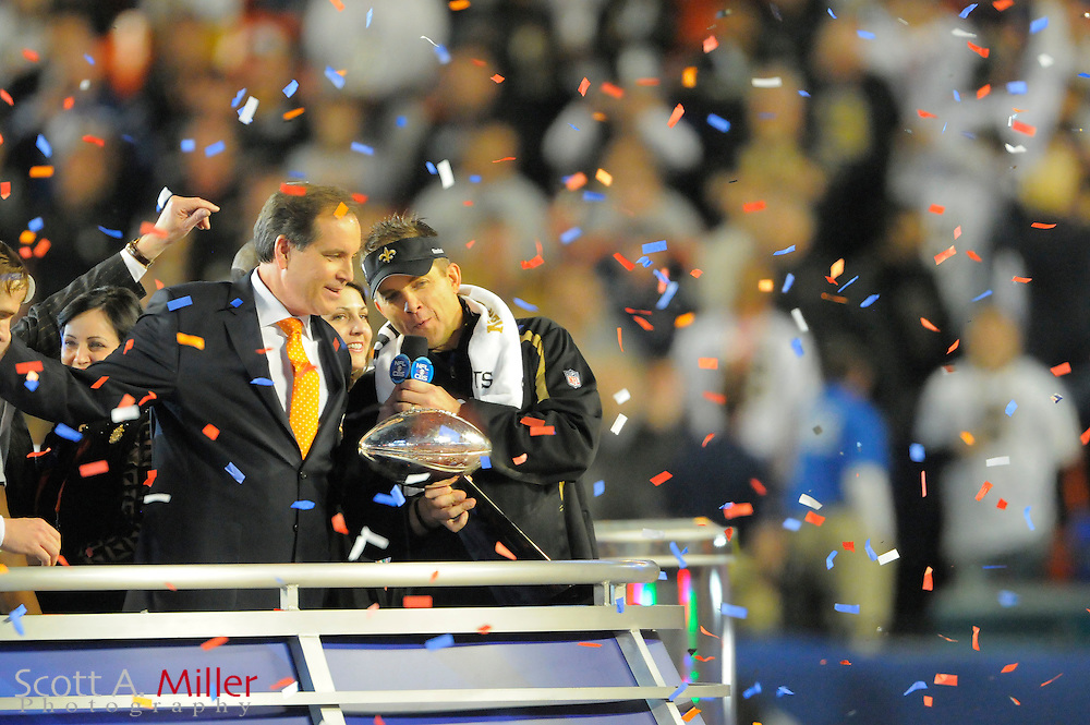 Miami, FL, USA; New Orleans Saints head coach Sean Payton with the VInce Lombardi Trophy after his team beat the Indianapolis Colts 31-17 in Super Bowl XLIV at Sun Life Stadium on Feb 7, 2010...©2010 Scott A. Miller