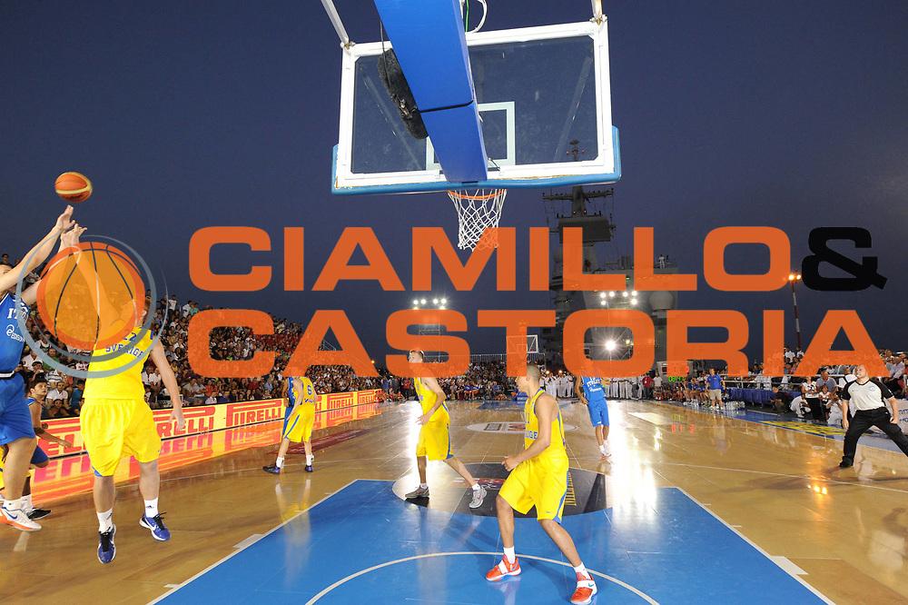 DESCRIZIONE : Taranto Basket On Board sulla portaerei Cavour  Nazionale Italia Under 18 Maschile Svezia <br /> GIOCATORE : team<br /> CATEGORIA : panoramica azione<br /> SQUADRA : Nazionale Italia Under 18<br /> EVENTO :  Basket On Board sulla portaerei Cavour<br /> GARA : Nazionale Italia Under 18 Maschile Svezia <br /> DATA : 12/07/2012 <br />  SPORT : Pallacanestro<br />  AUTORE : Agenzia Ciamillo-Castoria/GiulioCiamillo<br />  Galleria : FIP Nazionali 2012<br />  Fotonotizia : Taranto Basket On Board sulla portaerei Cavour  Nazionale Italia Under 18 Maschile Svezia <br />  Predefinita :
