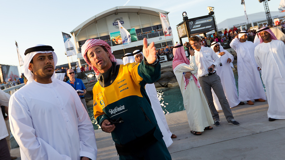 UAE. 4th January 2012. Volvo Ocean Race, Leg 2, arrival into Abu Dhabi. Arrivals ceremony. Highness Sheikh Sultan Bin Tahnoon Al Nahyan, Chairman of Abu Dhabi Tourism Authority with Iker Martinez skipper of Team Telefonica.