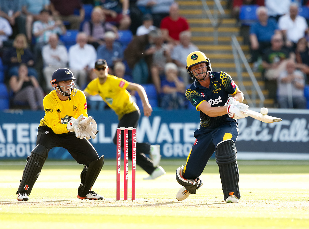 Glamorgan's Aneurin Donald spoons the ball over the top and is caught by Gloucestershire's Tom Smith<br /> <br /> Photographer Simon King/Replay Images<br /> <br /> Vitality Blast T20 - Round 8 - Glamorgan v Gloucestershire - Friday 3rd August 2018 - Sophia Gardens - Cardiff<br /> <br /> World Copyright © Replay Images . All rights reserved. info@replayimages.co.uk - http://replayimages.co.uk