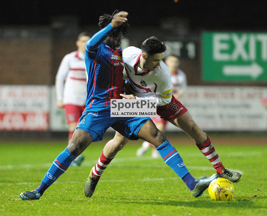 Willie Robertson (Stirling Albion, red &amp; white) and Andr&eacute;a Mbuyi-Mutombo (ICT, Blue &amp; Red)<br /> <br /> Stirling Albion v Inverness Caledonian Thistle, Scottish Cup, Saturday 9th January 2016<br /> <br /> (c) Alex Todd | SportPix.org.uk
