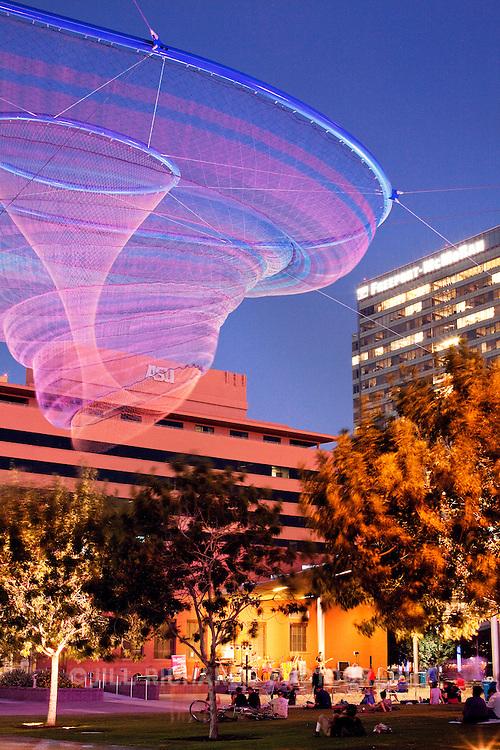 Her Secret Is Patience, a 2009 art installation by Janet Echelman located at Civic Space Park in downtown Phoenix, AZ.<br /> <br /> www.jillrichardsphotography.com