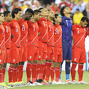 FOXBOROUGH, MASSACHUSETTS - JUNE 12:  The Peru team during a moment of silence for the Orlando victims before before the Brazil Vs Peru Group B match of the Copa America Centenario USA 2016 Tournament at Gillette Stadium on June 12, 2016 in Foxborough, Massachusetts. (Photo by Tim Clayton/Corbis via Getty Images)