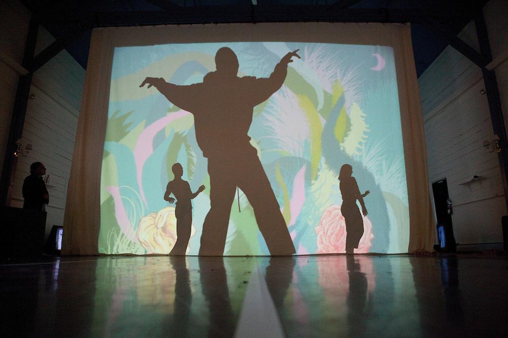 "Graphic novelist Art Spiegelman (L) pictured during a rehearsal for ""Hapless Hooligan in 'Still Movin"" in Washington, CT on June 9, 2010.  (Matthew Cavanaugh For The Boston Globe)"