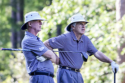 Tom O'Brien and Bobby Johnson talk on the 10th hole during the Chick-fil-A Peach Bowl Challenge at the Ritz Carlton Reynolds, Lake Oconee, on Tuesday, April 30, 2019, in Greensboro, GA. (Karl L. Moore via Abell Images for Chick-fil-A Peach Bowl Challenge)