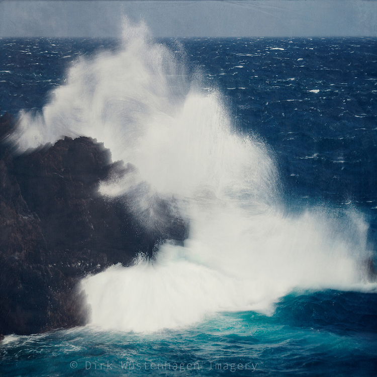 Atlantic wave crashing on lava rock on the island of La Palma - digitally manipulated photograph