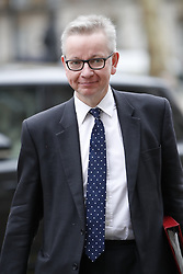 © Licensed to London News Pictures. 12/03/2019. London, UK. Environment Secretary Michael Gove arrives for Cabinet ahead of the meaningful vote on the Brexit withdrawal agreement in The House of Commons later. Photo credit: Peter Macdiarmid/LNP