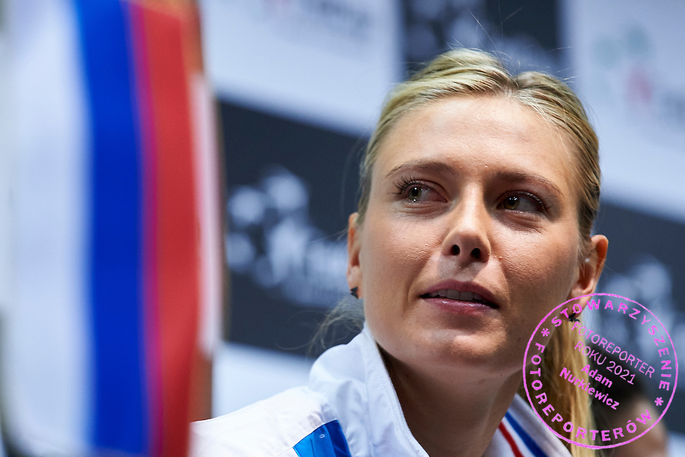 Maria Sharapova from Russia during official press conference three days before the Fed Cup / World Group 1st round tennis match between Poland and Russia at Krakow Arena on February 4, 2015 in Cracow, Poland<br /> Poland, Cracow, February 4, 2015<br /> <br /> Picture also available in RAW (NEF) or TIFF format on special request.<br /> <br /> For editorial use only. Any commercial or promotional use requires permission.<br /> <br /> Mandatory credit:<br /> Photo by &copy; Adam Nurkiewicz / Mediasport
