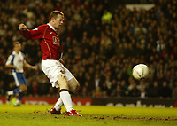 Photo: Aidan Ellis.<br /> Manchester United v Portsmouth. The FA Cup. 27/01/2007.<br /> United's Wayne Rooney scores the first goal