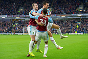 goal Burnley celebrate as  Burnley forward Dwight McNeil (31) as he scores a goal to make it 2-0 during the Premier League match between Burnley and West Ham United at Turf Moor, Burnley, England on 30 December 2018.