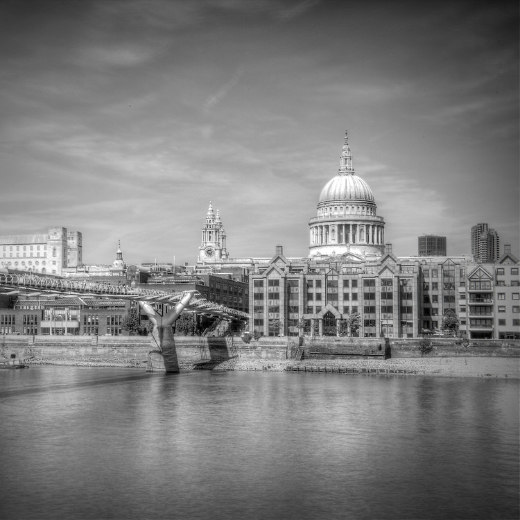 A view of the Millenium Bridge and St Pauls Cathedral in a square format with a B&amp;W conversion.<br />