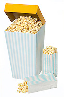 A box and two little bags of popcorn on a white background.